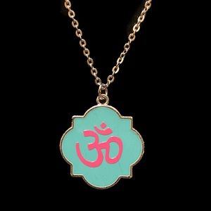 Om Teal & Pink Necklace